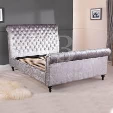 Upholstered King Size Bed Grey Velvet Upholstered King Size Bed For Bedroom Furniture