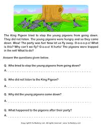 read comprehension hunter and pigeons and answer the questions