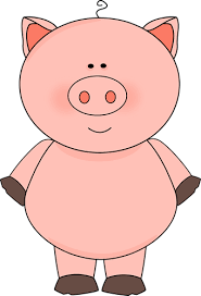 a pig with a goose on it s back and pink pig with a