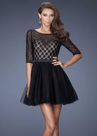Black Homecoming Dresses With Sleeves Romper Black Long Sleeves Illusion Polka Dot Printed Homecoming