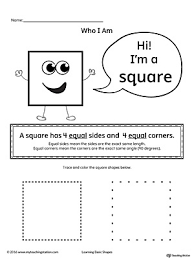 learning basic geometric shape square worksheets and activities