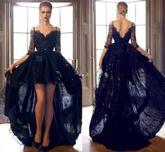 hi lo 2015 black prom dresses lace formal cocktail dresses