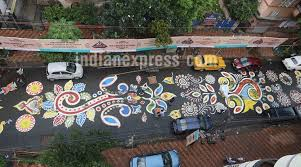 Home Decor In Kolkata Durga Puja 2017 Kolkata Streets Decorated With The Longest Alpana