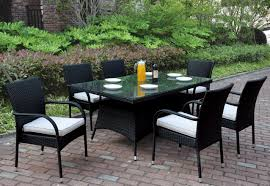Outdoor Glass Patio Rooms - poundex p50270 outdoor 7 pcs glass patio table set