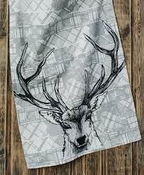 tartan stag tea towel or dish towel scottish gift by tartan