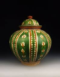 Ceramic Football Vase Tang Dynasty Tri Colored Pottery Pot With Stitched Football