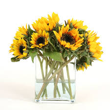 silk sunflowers waterlook miniature silk sunflowers in a rectangular glass vase