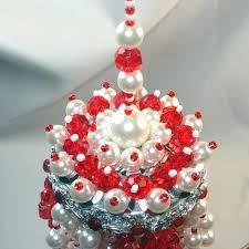 red white beaded chandelier tea ball christmas ornament from