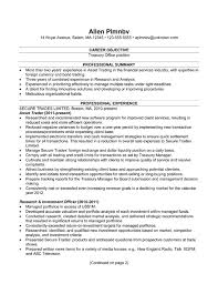Objective In Resume Samples by Resume Example For A Treasury Office Position Susan Ireland Resumes