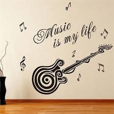 new removable vinyl wall quotes home decor music is my life guitar