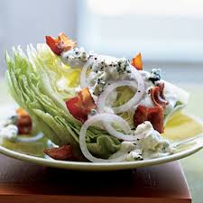 iceberg wedge with warm bacon and blue cheese dressing recipe