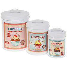 cupcake canisters for kitchen set of 3 cupcake tins canisters jars vintage retro storage