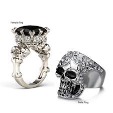 his and rings his and hers skull rings at gypsymoonlove skull skeleton