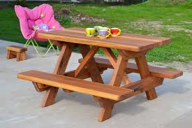 Kids Wooden Picnic Table Kid Size Wood Picnic Table With Attached Benches Forever Redwood