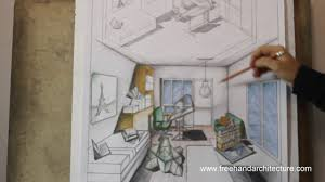 1 point perspective draw and design an architecture students room
