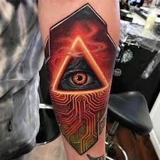 all seeing eye circuit board tattoo by kylecotterman at