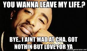 I Aint Mad At Cha Meme - you wanna leave my life bye i aint mad at cha got nothin but