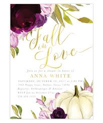 fall in love bridal shower invitation purple florals and a white