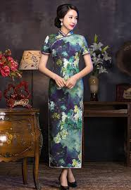 vintage green blue short sleeve long traditional chinese dress