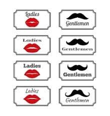 Bathroom Symbols Ladies And Gentlemen Bathroom Symbols Lips Vector Image