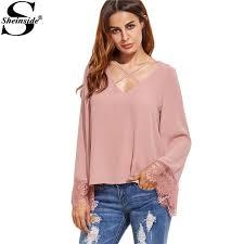 criss cross blouse sheinside sleeve shirts blouses fashion style