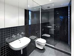 adorable modern two storey and terrace house design ideas simple futuristic bathroom design with white wall sink and black tile decoration nice looking small