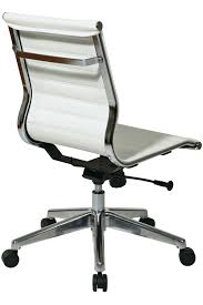leather desk chair no arms 73633 office star modern mid back white eco leather chair without