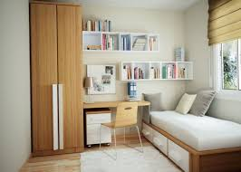 interior small apartment interior design by brown wooden bed with