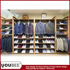 Garment Shop Interior Design Ideas Wooden Wall Mounted Display Shelf For Men Clothing Store Interior