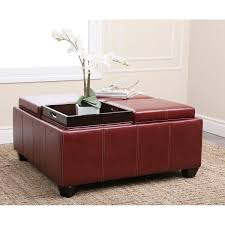 Red Ottoman Abbyson Living Vs 666 Trapani Leather Square Ottoman With 4 Trays
