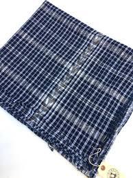 Plaid Home Decor Fabric Guatemalan Fabric Vintage Cotton Blue White Black Ikat Hint