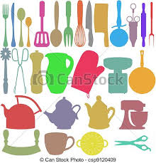 objets de cuisine couleur objets cuisine ustensiles silhouettes objets