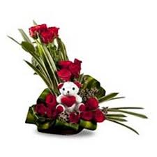 arrangement of 20 beautiful red roses with 6 inch teddy myflowergift