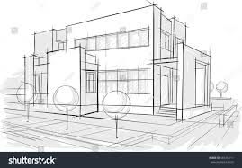 House Architecture Drawing Architectural Drawings Sketches Stock Vector 434782711 Shutterstock