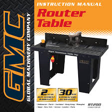 task force router table manual global machinery company router gmc router table user s manual
