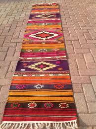 Colorful Kilim Rug Colorful Vintage Turkish Hallway Runner Kilim Rug By Kilimrugstore