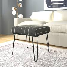 wrought studio cissus stripe ottoman with metal hairpin legs