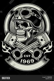 vintage biker skull crossed piston vector u0026 photo bigstock