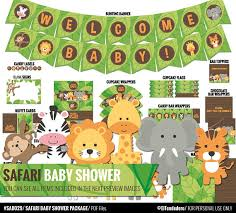 safari baby shower decorations package printable jungle theme