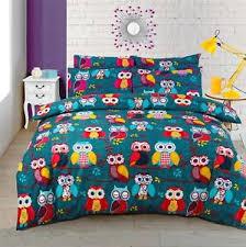 Teal Single Duvet Cover Patchwork Owls Branches Teal Single Duvet Cover Ebay
