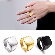 signet wedding ring smooth square signet ring silver black gold color stainless steel