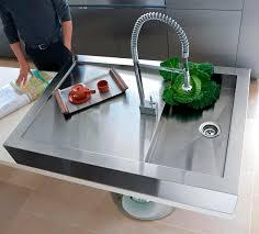 kitchen shallow stainless steel sink with futuristic kitchen