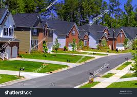 set newly built colonial houses subdivision stock photo 3656463