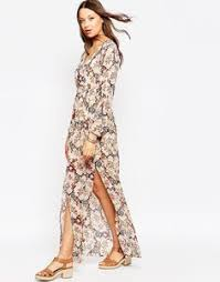 image 3 of first u0026 i 70s paisley kimono sleeve plunge maxi dress