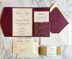 pocket wedding invitations burgundy and gold laser cut pocket wedding invitation cz invitations