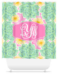 Monogram Shower Curtains Monogram Shower Curtain Succulents Sassy Southern Gals