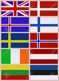 Flags Of European Countries Ten National Flags Of Northern Europe Countries Stock Photo