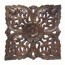 wood plaque carved lotus square rustic wall decor