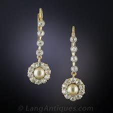 pearl and diamond drop earrings edwardian pearl and diamond drop earrings