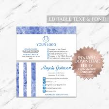 blue marble and white hair salon and monat business card instant